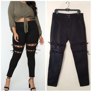 Fashion Nova Lace Up Thigh Black Skinny Jeans